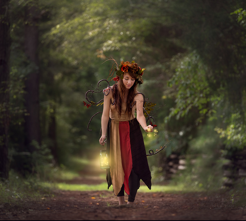 a fairy dancing in the woods