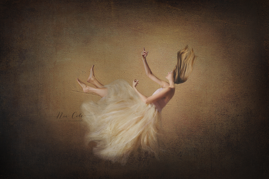 girl falling in mid-air